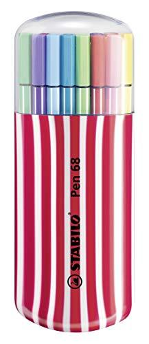 Rotulador STABILO Pen 68 - Estuche Premium Zebrui con 20 colores, Cereza