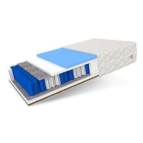 FDM Laval MAX Taschenfederkernmatratze Matratze 7 Zonen Hochelastischer HR Komfortschaum Kokos Härtegrad H2/H4 (mittelweich/hart) Höhe 26 cm Zweiseitig Abnehmbarer Bezug waschbar (90 x 200 cm)
