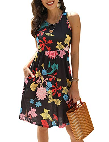 OURS Women's Tank Top Sleeveless Elastic Waist Casual Dress with Pocket M Black