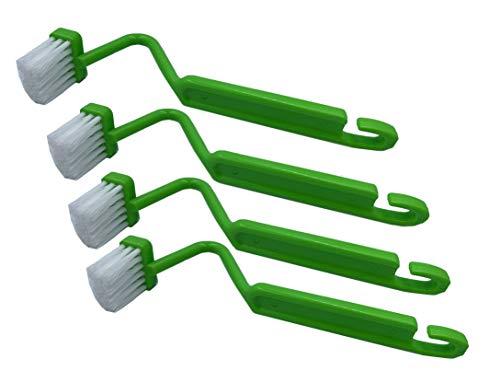 """JDWG Curved Toilet Brush,8"""" V-Shaped Plastic Toilet Edge Brush Toilet Cleaner Brush Cleaning Toilet Rim (Pack of 4, Green Curved Toilet Brush)"""