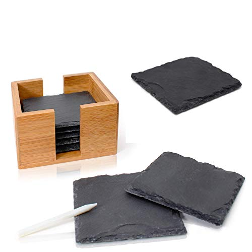 Amazy Sottobicchieri in Ardesia (8 Pezzi) con Penna Gesso - Set sottobicchieri in Ardesia 100% Naturale con Supporto in bambù pregiato - Ottima Idea Regalo (Quadrato| 10x10 cm)