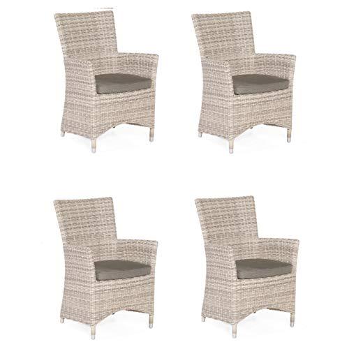 Sonnenpartner Gartenstuhl Sessel-Set Modell Ikarus White-Coral inkl. Kissen