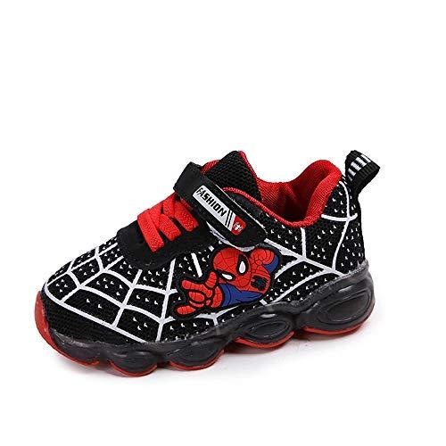 Luz LED niños niños niños dibujos animados zapatos luminosos zapatillas de deporte entrenadores nuevos Spiderman luz hasta entrenadores (6, negro)