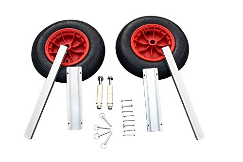 AQUOS Aluminum Transom Launching Wheels for Inflatable Boat Tender Dinghy Rafts