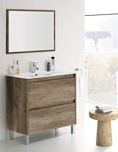 MarinelliGroup Mobile Bagno 80 cm con lavabo in Ceramica e Specchio con cassetti Rovere. Dalia
