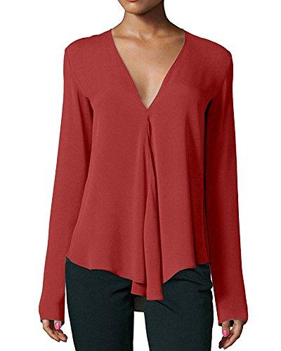 Mujeres Ocio Manga Larga Cuello en V Profundo Camisa de Gasa Color Solido Suelto Camiseta Tamaño Grande Blusa Elegante Pullover Tops VinoTinto XL
