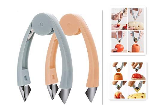 Huller,Pineapple Eye Peeler Remover V Shape Strawberry Huller Remover Tomato Carrot Corer Multifunctional Home Kitchen Fruit Tools blue amp pink 2pcs