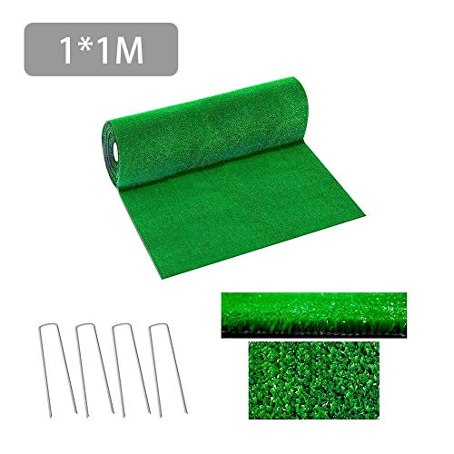 delibett Kunstrasen Rasenteppich, wasserdurchlässig für Balkon, Terrasse, Garten, UV-Garantie in Grün, Größe: 100x100 cm