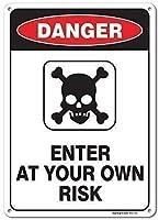 警告金属ノベルティサインアルミニウム、あなた自身のリスクサインルームで入力してください、金属レトロビンテージティンサインバー壁の装飾ポスターノベルティサイン面白い屋外&屋内サイン