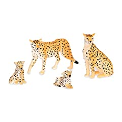 Cheetahs are the world's fastest land creatures. Catch These speedy miniature animals if you can! Realistic details: exquisite miniature animals with realistic, accurate detail and beautiful design Includes: 1 male and 1 female adult cheetah and 2 ch...