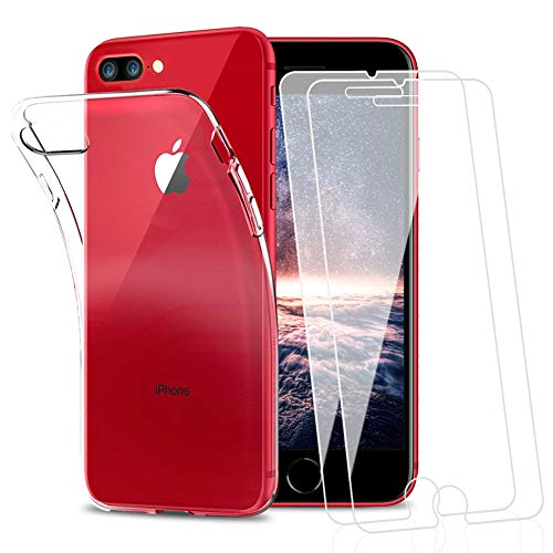 Amonke Funda para iPhone 7 Plus iPhone 8 Plus + 2 Pcs Protector de Pantalla para iPhone 7 8 Plus Cristal Templado, Flexible Suave Silicona Transparente TPU Carcasa + Vidrio Templado para iPhone 7+ 8+