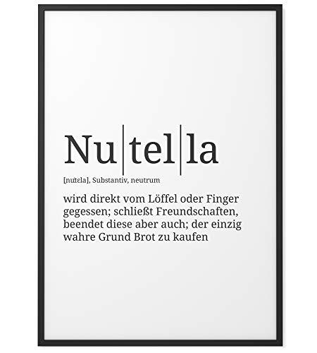 Papierschmiede® Definition: Nutella | DIN A4 fertig gerahmt im schwarzen Holzrahmen | Poster mit Worterklärungen wie im Duden als Wanddeko | Bild bereit zum Aufhängen