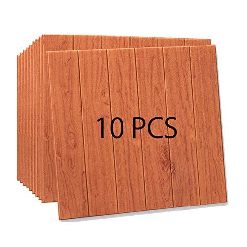 Win-Y 3D Holz Tapete, DIY Schaum Panel weiche Anti-Kollision Schalldämmung Wasserdichter Leicht zu Reinigen Wandpaneele für Schlafzimmer Wohnzimmer moderne tv schlafzimmer wohnzimmer dekor (10, Brown)