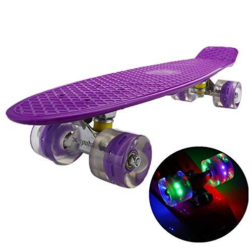 YULINGSTYLE Penny Board, 22 inch Skateboard ist Geeignet für Skateboard Kkinder ab 8 Gahre, Street Outdoor Sports Flashing Penny Board Pastel für Kinder (Purple)