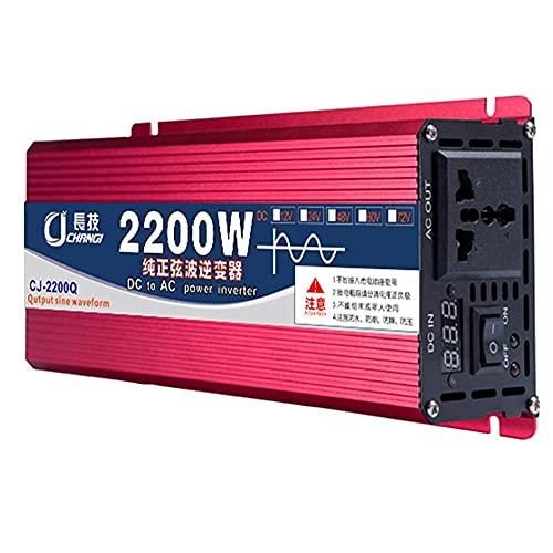SGSG Inversor de Onda sinusoidal Pura de 2200 W, convertidor de Adaptador de Corriente para inversor de automóvil, convertidor de 12 V 24 V CC a 110 V 120 V CA con 1 Toma Universal, Cargador para
