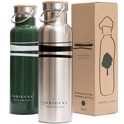 INDIGENA, Eco-Borraccia Termica in Acciaio Inox 600ml BPA Free, PIANTA UN ALBERO a bottiglia, Isolamento Termico per Bevande Calde Fredde, Mantiene la Temperatura di Caffè Té Acqua 12h, Sport & Natura