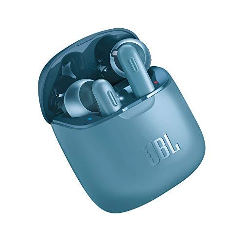 JBL Tune 220 TWS Lifestyle Bluetooth Kopfhörer in Blau – Kabellose Sport Ohrhörer für bis zu 3 Stunden Musikgenuss mit nur eine Akku-Ladung – Inkl. Ladecase