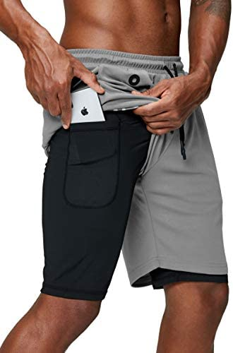 Pinkbomb Men s 2 in 1 Running Shorts Gym Workout Quick Dry Mens Shorts with Phone Pocket Light product image