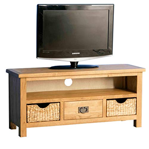 Surrey Oak 110 cm TV Stand with Baskets for Living Room or Bedroom | Roseland Furniture Traditional Rustic Waxed Solid Wood Television Cabinet Unit Suitable for TVs up to 49 inches | Fully Assembled