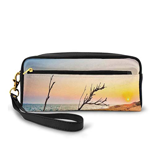 Pencil Case Pen Bag Pouch Stationary,Washed Up Driftwood on The Sandy Shoreline at Sunrise Digital Image,Small Makeup Bag Coin Purse