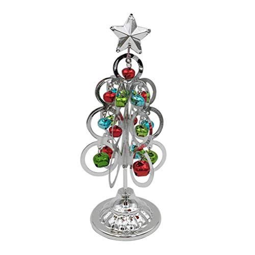 Toyvian Mini Eisen Weihnachtsbaum Desktop Ornamente mit Jingle Bell Christmas Party Ornament (Silber)