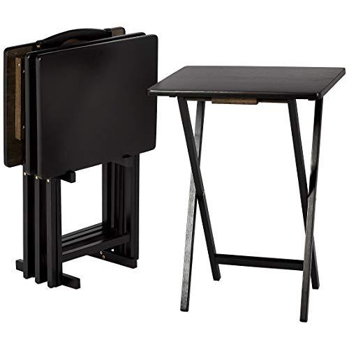 AmazonBasics Classic TV Dinner Folding Trays with Storage Rack, Black - Set of 4