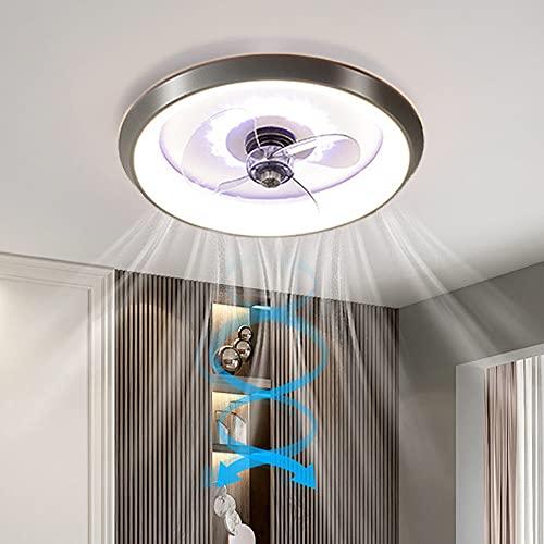 LANMOU Ventilador Techo con Luz y Mando a Distancia, Lámpara de Techo Moderna con Ventilador 3 Velocidades Lámpara Ventilador LED Regulable para Dormitorio Salón Iluminación,Gris