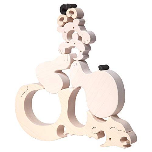 Oso Polar de Madera Puzzle 3D, motrocidad Global, coordinación Mano-Ojo, Juguete Eco sostenible