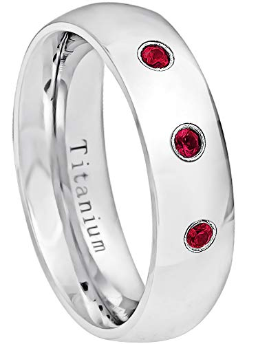 0.21ctw Ruby 3-Stone Titanium Ring - July Birthstone Ring - 6MM Comfort Fit Polished Classic Dome White Titanium Wedding Band - 7