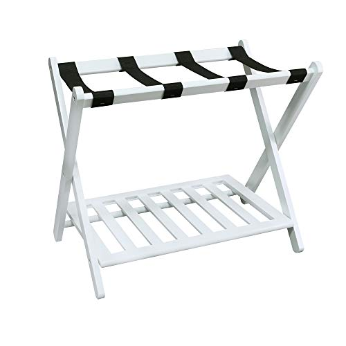 Save %26 Now! Casual Home Shelf-White Luggage Rack, 28 Wide