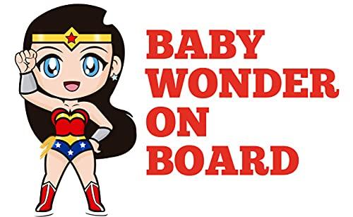senza marca Adhesivo de Baby On Board para coche – Bebé a bordo/Bebé en el coche – Adhesivo divertido superhéroes – Bebé a bordo/Bebé en coche seguridad (Baby Wonder)