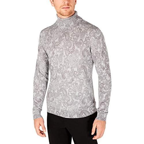 Tasso Elba Mens Cotton Printed Turtleneck Sweater Gray XXL