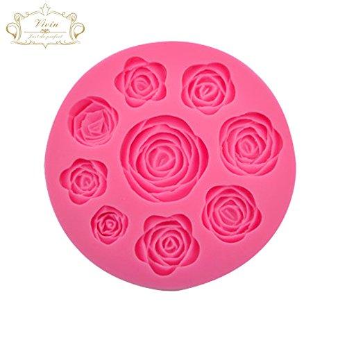 Vivin Roses Flower Mould Cake Topper Decoration Sugarpaste Icing Fondant Color in Random
