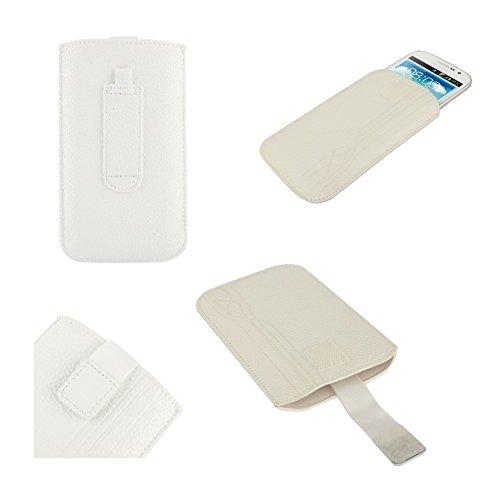 DFVmobile - Etui Tasche Schutzhülle aus Liniendesign mit Gürtelschlaufen & Klettbandverschluss für JIAYU F1 - Weiß