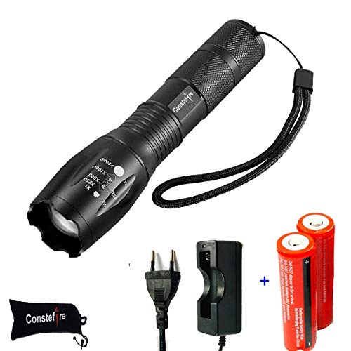LED Linterna Recargable LED Linternas Alta Potencia, (XML T6,1200 lm,5 Modos,Zoom, resistente al Agua), LED Linternas Camping,LED Linterna Recargable Linterna, Con 2PCS 3000mAh 3.7V 18650 Batería