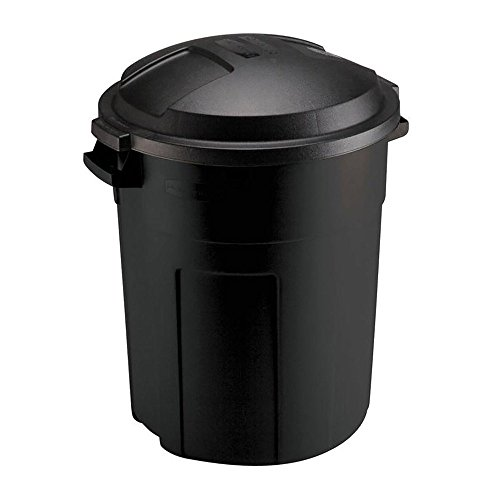 808 Soundlab Unknown Trash CAN with LID 20 Gal Outdoor Yard Waste Recycle Bin Heavy Duty Round Black