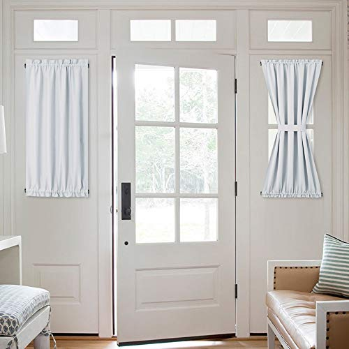 NICETOWN Greyish White Blind for Door Window - Room Darkening Side Lights Curtain and Drapery Thermal Insulated and Privacy Assured (1 Panel, 40 inches Long, Platinum)