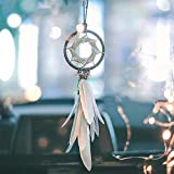 Alynsehom Dream Catcher Car Charm Rearview Mirror Hanging Decor Small Boho Handmade Feather Car Accessories Pendant 2.8' Diameter