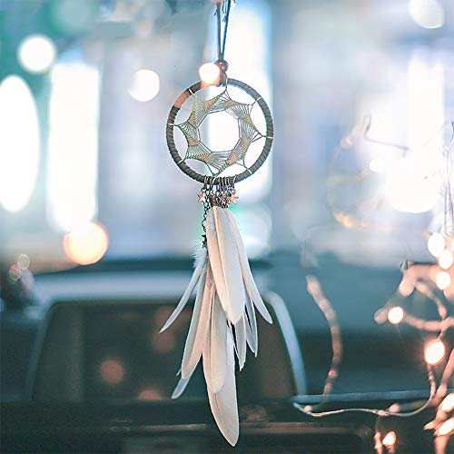 Alynsehom Dream Catcher Car Interior Rearview Mirror Hanging Decor Handmade Grids Nature Feather Small Boho Car Charms Pendant Accessories (Grey Feather)