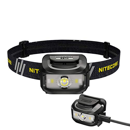 Nitecore NU35 Headlamp, Dual Power Source, Long Runtime, USB Rechargeable, Battery Included, Eco-Sensa Type-C USB charging cable included
