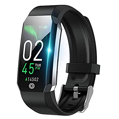 Kids Fitness Tracker Smart Watch?Body Temperature with Heart Rate Blood Oxygen Blood Pressure Monitor?Step Calorie Counter Sleep Monitor Pedometer Activity Tracker for Women Men (A-Black)
