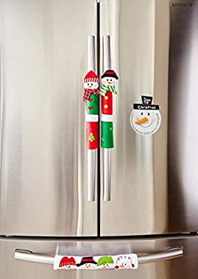 Christmas Countdown Calendar and Snowman Appliance Handle Covers Set