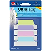 """Avery Margin Ultra Tabs, 2.5"""" x 1"""", 24 Repositionable Tabs, Two-Side Writable"""