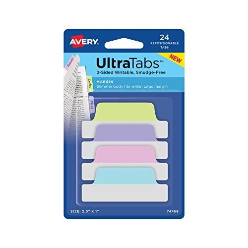 Avery Ultra Tabs, 2.5 x 1 Inch, 2-Side Writable, Pastel Blue/Pink/Purple/Green, 24 Repositionable Margin Tabs (74769)