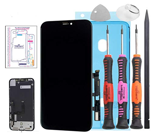 Trop Saint Pantalla Negro para iPhone XR - Premium Kit de reparación LCD con Herramientas y Pegatina Adhesiva Impermeable