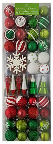 CG Hunter Holiday 52-Piece Shatter Resistant Ornaments, Green, Red & White