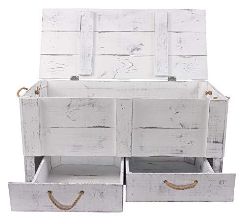 Obstkisten-online 1x Vintage TRUHE - Holztruhe mit Deckel inklusive Zwei Schubladen, mit Kordeln als Griffe - NEU - 85,5x42x43,5 cm - für Decken usw - 3