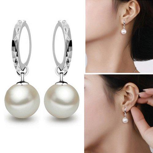 Brussels08 - 1 paio di eleganti orecchini a cerchio con pendenti con perle finte, chiusura a monachella, idea regalo per donne di ogni età