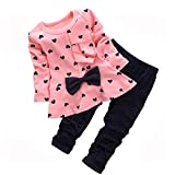 Cute Toddler Baby Girls Clothes Set Long Sleeve T-Shirt and Pants Kids 2pcs Outfits (Pink2, 12-18 Months)