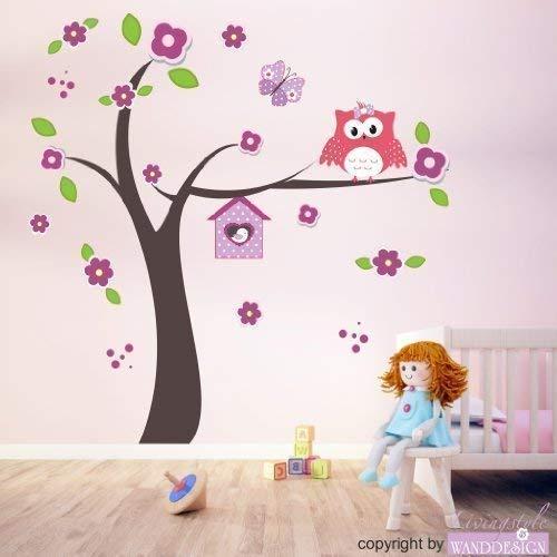 Livingstyle & Wanddesign Wandtattoo Wandaufkleber Happy Eulenbaum Eulen Baum Eule Blüten Schmetterling (127 cm x 130 cm)